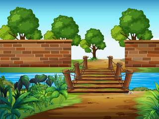 A wooden bridge in the park © GraphicsRF