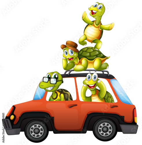 Poster A turtle family on a car