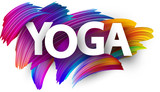 Yoga paper poster with colorful brush strokes.