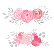 Leinwanddruck Bild - Set of watercolor floral composition with rose, leaves, flowers and branches.