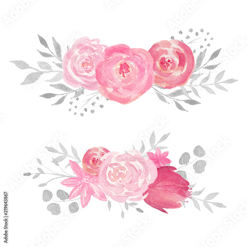 Leinwanddruck Bild Set of watercolor floral composition with rose, leaves, flowers and branches.