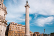 Trajan's Column and Santa Maria di Loreto Church in Rome, Italy
