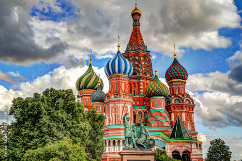 St Basil's Cathedral in Red Square against blue skies