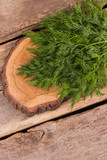 Rustic wooden cut board and fresh dill. Ready for cooking salad. Old vintage wooden table background. - 219676458