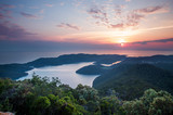 Colorful image of sunset at Mljet island in Croatia