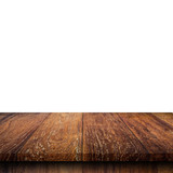 Empty wooden table top on isolated white, Template mock up for display of product. - 219681846