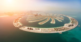 Aerial view of artificial palm island in Dubai. - 219683400