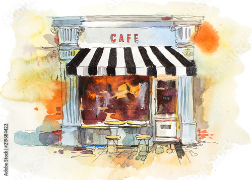 European retro restaurant or cafe Watercolor illustration - 219684422
