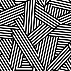 Geometric monochrome seamless pattern with repeat lines.Vector abstract background.Simple textile texture © julyjul