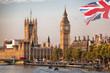 Leinwanddruck Bild - Big Ben with bridge in London, England, UK