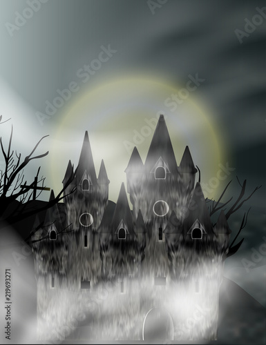Gothic castle in fog in background full moon. Fantasy night view. Vector - 219693271