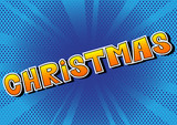 Christmas - Comic book style word on abstract background. - 219698848