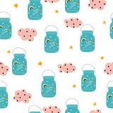 Magic jar seamless pattern. Cute kids print. Vector hand drawn illustration. - 219702626