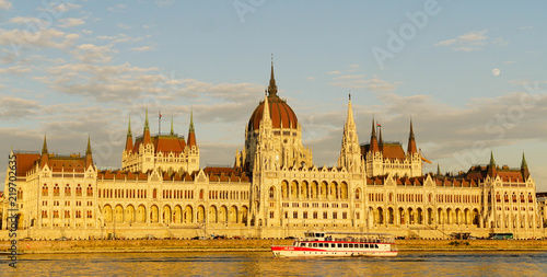 Budapest parliament at sunset