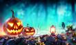 Leinwanddruck Bild - Halloween Pumpkins In Spooky Forest With Lantern And Crow