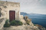 Beautiful landscape with sea view of the Nea Kameni, a small Greek island in the Aegean Sea near Santorini - 219704016