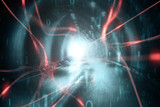 Artistic red colored neurons in the brain illustration on artistic cyberspace tunnel background. - 219707895