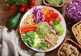 Vegetarian food. Plate of healthy salad with quinoa and vegetables - 219708827