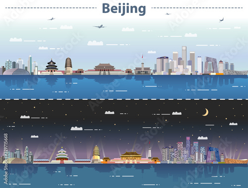 Fototapeta vector abstract illustration of Beijing skyline at day and night