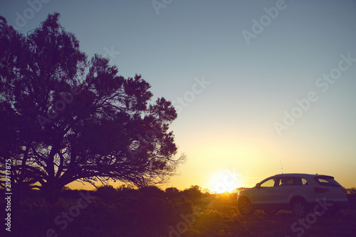 traveling by car summer evening on sunset - 219717875