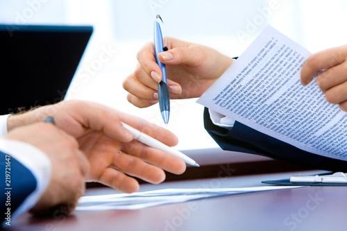 Naklejka sign contract pen hands business men woman office recruitment finance tax money meeting negociation property management