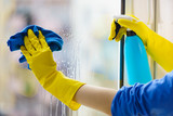 Gloved hand cleaning window rag and spray - 219722694