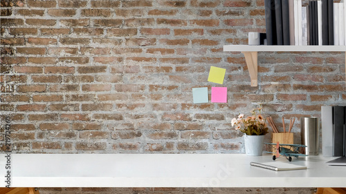 Loft Worke With Hipster Office Supplies White Desk And Copy E