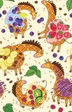 Fantasy belgian waffle in the form of a giraffe with whipped cream, berries and fruits. Vector seamless pattern - 219729288