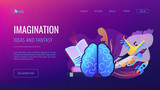 Open book, brain and user flying in space among planets. Imagination, ideas and fantasy landing page. Creative thinking, motivation and inspiration. Vector illustration on ultraviolet background. - 219731278