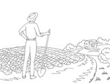 Farm graphic black white landscape sketch illustration vector. Farmer looking at the field - 219735685