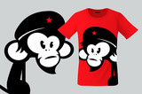 Monkey with beret, T-shirt design, modern print use for sweatshirts, souvenirs, cases for mobile phones and other uses, vector illustration.