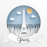 Paper cut style of world famous landmark of Paris, France with white frame and label. Travel postcard and poster, brochure, advertising Vector illustration.