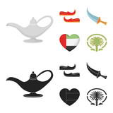 Eastern shoes, dagger, the heart of the emirates,Palm Jumeirah.Arab emirates set collection icons in cartoon,black style vector symbol stock illustration web. - 219739622