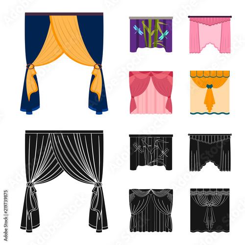 Hafty, tekstylia, meble i inne ikony internetowych w kreskówce, czarny styl. Zasłony, kij, gzymsy, ikony w zestaw kolekcja.