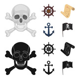 Pirate, bandit, rudder, flag .Pirates set collection icons in cartoon,black style vector symbol stock illustration web.