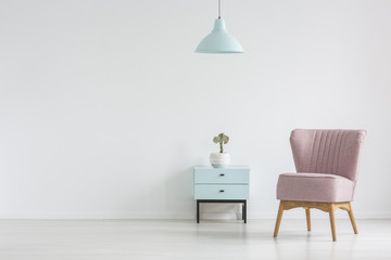 Pink chair next to cabinet with plant in apartment interior with lamp and copy space. Real photo with a place for your poster © Photographee.eu