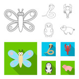 An unrealistic outline,flat animal icons in set collection for design. Toy animals vector symbol stock web illustration.