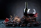 Red wine and grapes. - 219742653