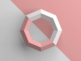 Abstract low poly object with pink and white - 219745668