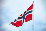 Flag of Norway waving over cloudy sky - 219745670