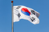 South Korea flag Taegukgi over blue sky - 219745677