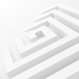 Abstract white square spiral perspective - 219745685