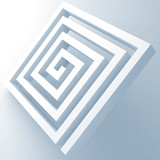 Abstract white square spiral maze object - 219745690