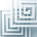 Abstract square white spirals over light blue - 219745694