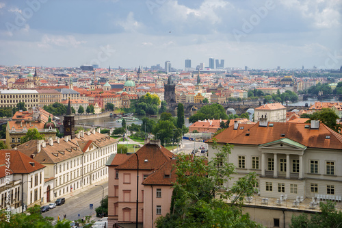 Panoramic view of prague city with nice clouds in summer