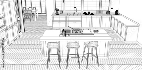 Interior design project black and white ink sketch architecture interior design project black and white ink sketch architecture blueprint showing classic kitchen with malvernweather Gallery