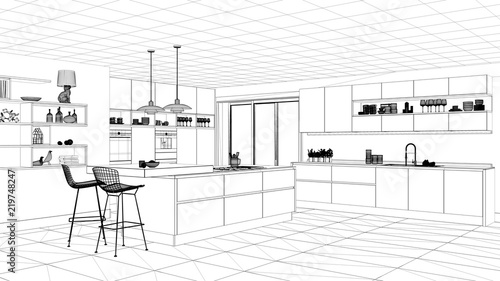 Interior design project black and white ink sketch architecture blueprint showing modern kitchen with  sc 1 st  AP Images & Interior design project black and white ink sketch architecture ...