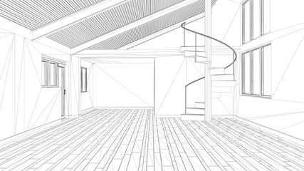 Interior design project, black and white ink sketch, architecture blueprint showing modern empty space with staircase © ArchiVIZ