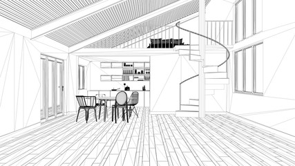 Interior design project, black and white ink sketch, architecture blueprint showing modern kitchen with staircase and mezzanine © ArchiVIZ