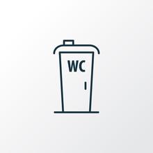 Wc Cabin Icon Line Symbol Premium Quality  Toilet Element In Trendy Style Sticker